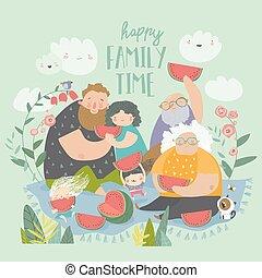 park, familie, wassermelone, glücklich, essende