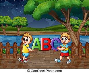 park, glücklich, kinder, abc, text, besitz