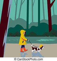 park, regen, liebe, verantwortung, während, bewölkt , kind, wohnung, m�dchen, cartoon., wald, animal., regenmantel, hund, weather., haustier, sorgfalt, abbildung, spaziergänge, gummi, szene, vektor, stiefeln
