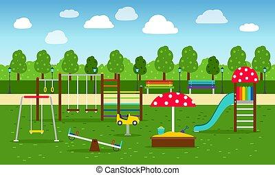 park, spielplatz, hintergrund