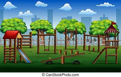 park, spielzeuge, kinder, spielplatz, stadt