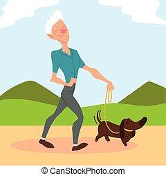 park, tätiger älterer, alter mann, hund, spaziergänge