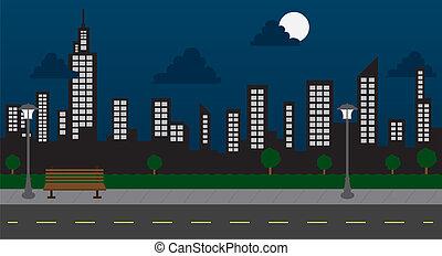 Parkhäuser und Straßenabend