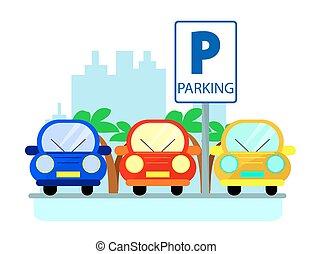 Parkkonzept mit roten, grünen und blauen Autos im flachen Stil über der Stadt Silhouette. Einfache Illustration