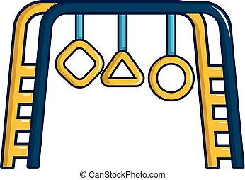 Parkspielplatz-Ausrüstung Ikone, Cartoon Stil