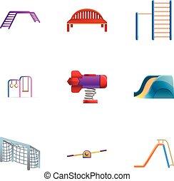 Parkspielplatz Ikone Set, Cartoon Stil