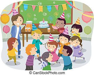 party, bilden kinder, stickman, geburstag