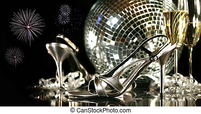 party, champagner, schuhe, brille, silber