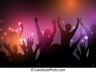 party, crowd, 1103, lichter, hintergrund