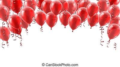 party, luftballone, hintergrund, rotes