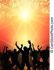 Party-Menschen im Sunburst Hintergrund 0504.