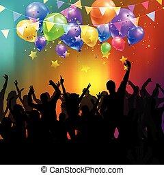 Party mit Ballons und Konfetti.