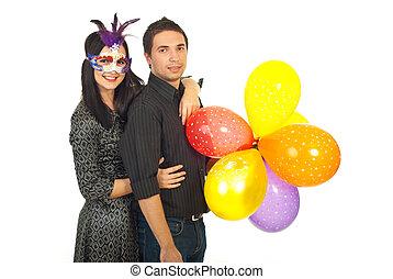 party, paar, freudig