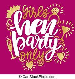 party, postkarte, kalligraphie, banner, henne, plakat, mädchen, oder, graphischer entwurf