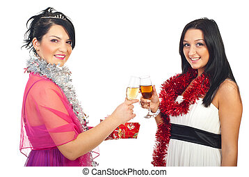 party, toasten, weihnachten, frauen