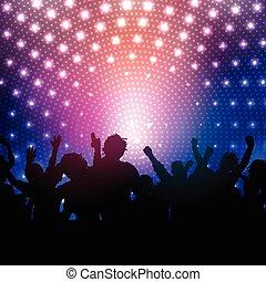 Party-Truppe auf Disko-Licht Hintergrund 2102.