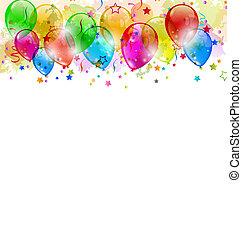 Partyballons, Konfetti mit Platz für Text.