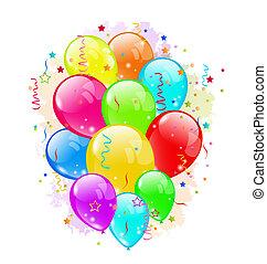 Partyballons und Konfetti auf weißem Hintergrund.