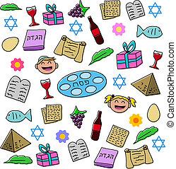 passah, feiertag, symbole, satz