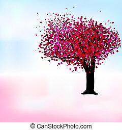 Passionsbaum, romantische Musterkarte. EPS 8