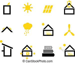 Passive Haus-Ikonen isoliert auf weiß (schwarz & gelb)