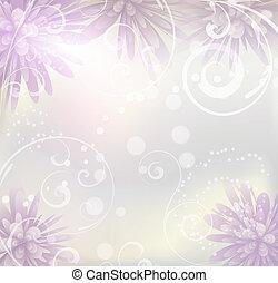 Pastellfarbener Hintergrund mit lila Blumen