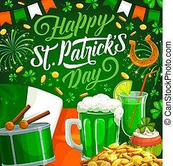 patricks, klee, irisch, tag, grün, geldmünzen, bier, gold