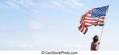 patriotisch, reizend, amerikanische , glücklich, m�dchen, kind, flag., holiday., kleines kind