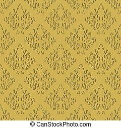 pattern., damast, tapete, blumen-, barock, verzierung, gewebe, vektor, weinlese, design., hintergrund., seamless