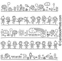 Pattern mit Kindern und süßen Naturelementen.