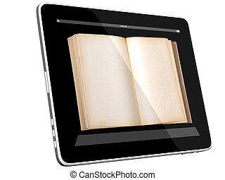 pc computer, geöffnetes buch, tablette