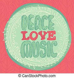 Peace Love Music emblem Münzen Vektor Illustration, flachen Stil.