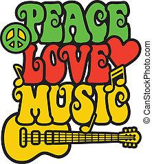 Peace love music in rasta colors