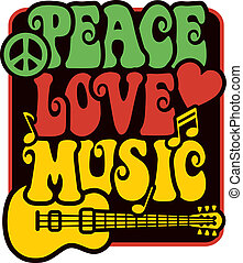 Peace Love Music rastafarben