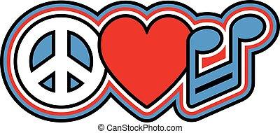 PEACE LOVE-MUSIK in Rot und Blau.