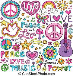 Peace Love Musik-Notebook Doodles.
