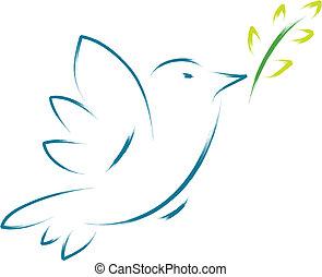 Peace Taube mit Blume