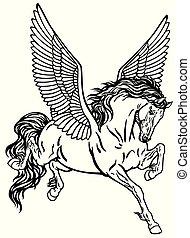 Pegasus schwarz und weiß