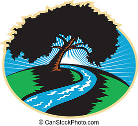 Pekannischer Baum, der den Flussaufgang zurückzieht