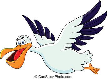 pelikan, fliegendes, karikatur