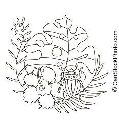 pencils., seiten, abbildung, kreativ, zeichnung, farben, monstera, buch, tropische , käfer, adults., hand, skarabäus, schöne , färbung, handfläche, kinder, blumen