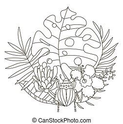 pencils., seiten, farben, schöne , färbung, blumen, monstera, tropische , skarabäus, abbildung, kreativ, zeichnen buch, käfer, hand, protea, adults., handfläche, kinder