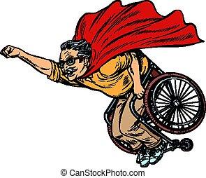 pensionierte leute, behinderten, superhero, wheelchair., gesundheit, langlebigkeit, mann, älter
