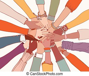 people.people, gruppe, people.community, hände, cultures.cooperation.agreement, zwischen, oberseite, colleagues.diversity, arme, verschieden, kreis, jedes, verschieden, andere, multi-ethnisch
