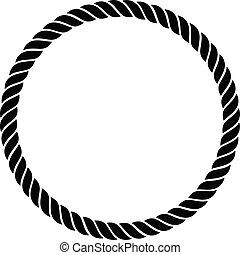 perfekt, ledig, seil, vektor, abbildung, verdreht, geflochten, kreis, freigestellt, linie