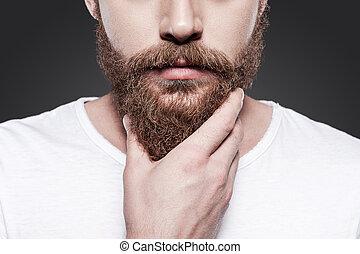 perfekt, stehende , nahaufnahme, seine, beard., junger, gegen, grau, bärtig, während, berühren, hintergrund, männerbart