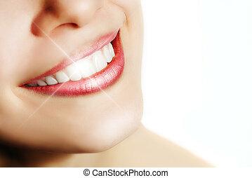 perfekt, weiße zähne, frau, lächeln