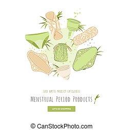 periode, stoffe, verwerten wieder, textile., menstrual, satz, -, verschwendung, kategorie, produkte, vektor, wiederverwendbar, eco, becher, null, watte, wohnung, polster, feundliches , säcke, produkt, karikatur, frau