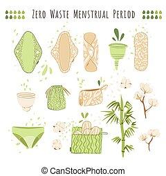 periode, stoffe, verwerten wieder, textile., menstrual, satz, -, verschwendung, produkte, vektor, wiederverwendbar, eco, becher, null, watte, wohnung, polster, feundliches , säcke, karikatur, frau