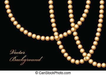 perlen, vektor, abbildung, gold